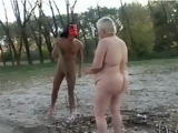 Granny Gets Fucked Outside