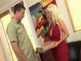 Blonde Cougar With Huge Melons Seduced Delivery Guy For Sex