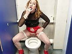 Essex Girl Lisa Pissing In Public Bathroom At SheWorld