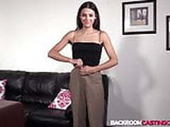 Brunette babe Tanya creamed after riding on casting couch