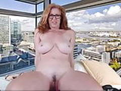 Redhead Canadian cougar with trimmed twat and natural 32DDDs