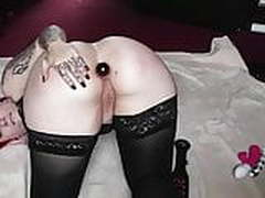 Nasty goth anal play and orgasm