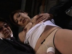 Oriental milf gets wang in pussy while at work