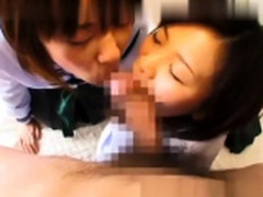 Sweet japanese college doll eating penis in POV style