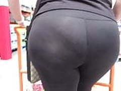 Juicy ass wide hips Latina MILF in see-thru spandex tights