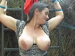 Huge boobs caning outdoor