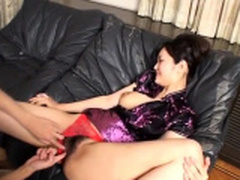 Busty Japanese wants cock fully in her tiny holes - More at