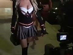 Hot blonde slut going out in sexy schoolgirl costume