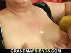 POV threesome with busty mature plumper