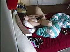 Horny roommate spreads her legs