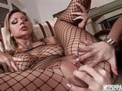 Fishnet and pantyhose lesbian lick and fingering