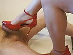 Donna Dora red heels shoejob and footjob with cs